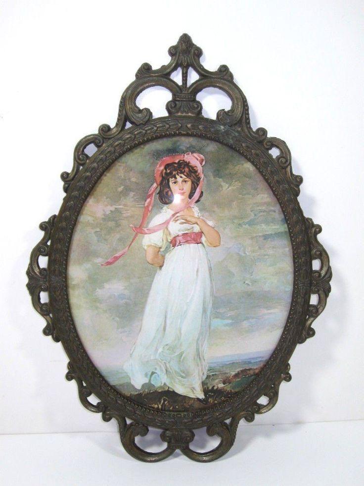 Antique Oval Picture Frame Convex Bubble Glass