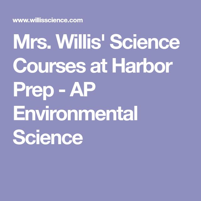 Mrs. Willis' Science Courses at Harbor Prep - AP Environmental Science