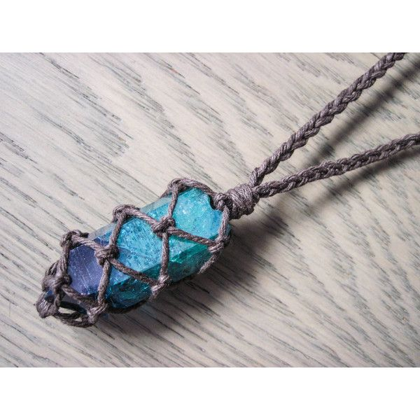 Aqua aura quartz necklace, Statement Necklace, Festival Necklace, Aura... ❤ liked on Polyvore featuring jewelry, necklaces, pendant necklace, braided cord necklace, braid crown, statement choker necklace and galaxy necklace