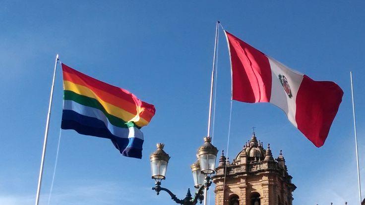 Cuzco and Peru flags