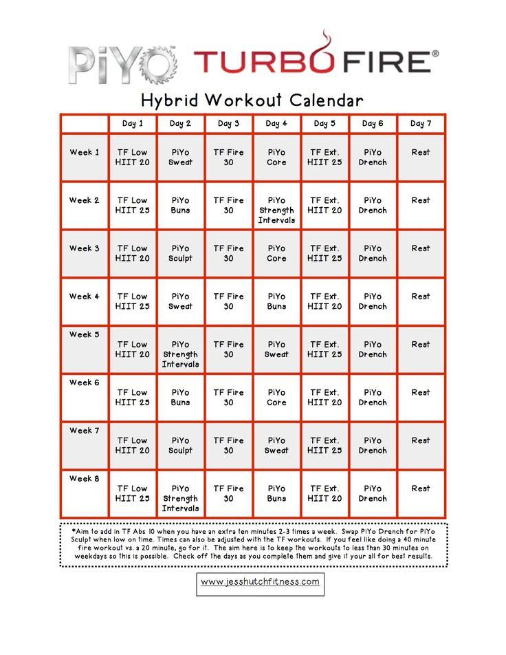 PiYo/TurboFire Hybrid Calendar
