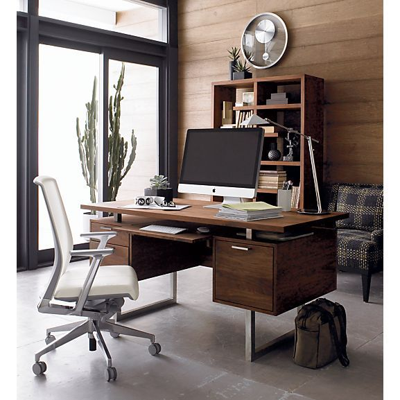 crate and barrel home office. clybourn desk, haworth very white task chair, focus lamp i crate and barrel home office work space eclectic traditional masculine feminine