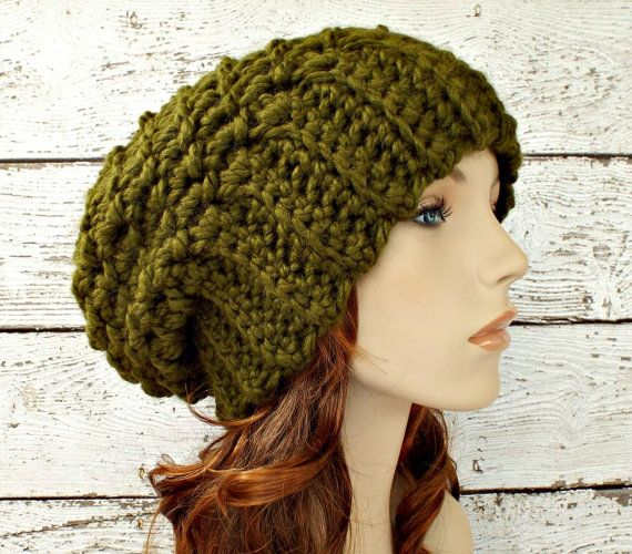 Souffle Beret in Olive Green -