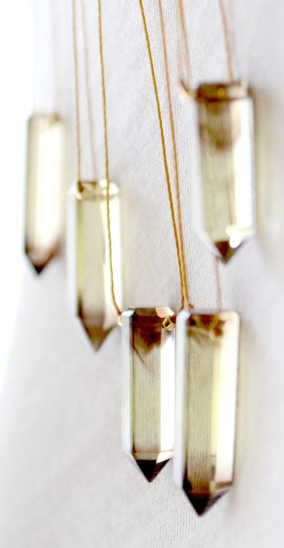 Lemon quartz pendants look like shards of sunlight.