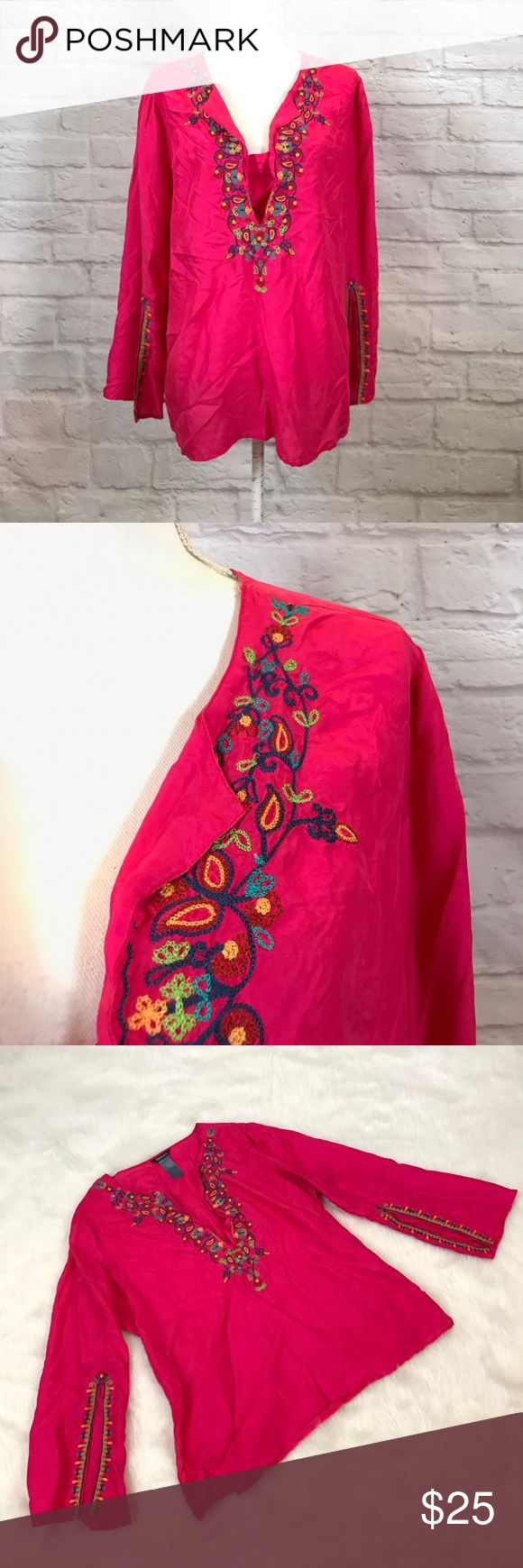 Beliza silk embroidered peasant festival blouse Gently used. Looks barely or never worn, 100% silk, length 28, chest 23 across pit to pit Beliza Tops Blouses