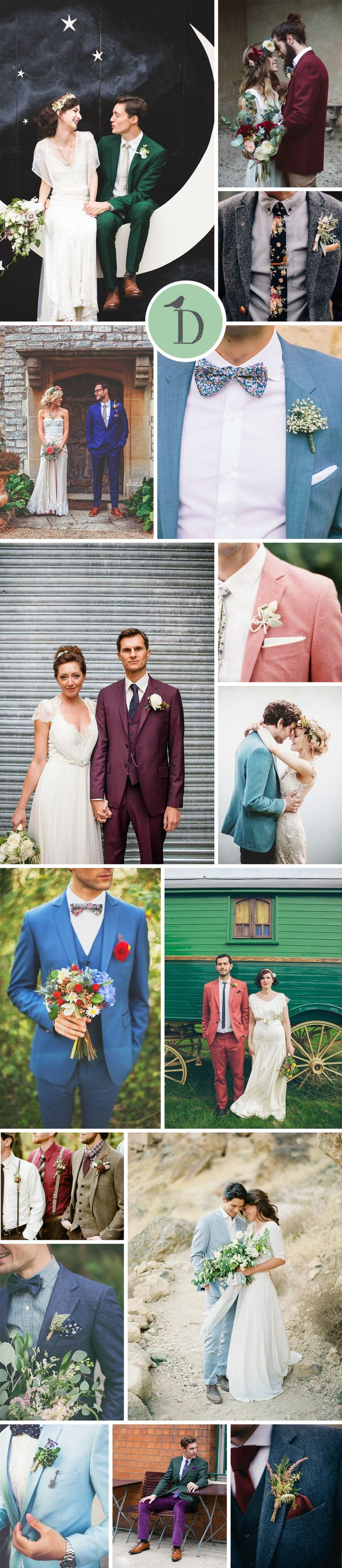 COLOURFUL WEDDING SUITS FOR GROOMS Come on grooms, it's time to banish the boring grey and black and instead embrace a colourful wedding suit! Whether your style is preppy linen, or muted indie burgundy, let your suit shout your style.