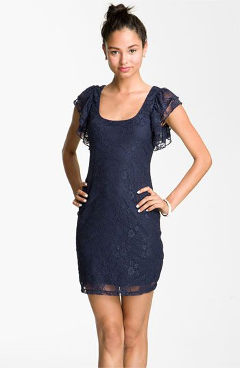 Trixxi Flutter Sleeve Lace Dress (Juniors) | Nordstrom
