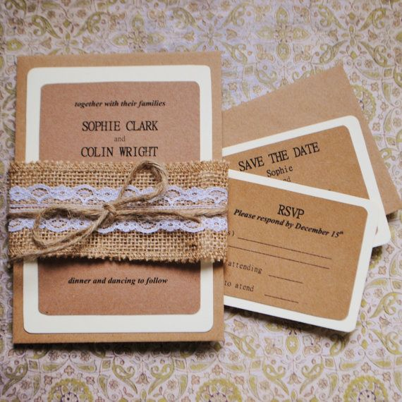 Rustic wedding invitation and RSVP card set, burlap and lace wedding invitation set, hessian lace and twine wrap. Country wedding invite by MyVintageLaceShop