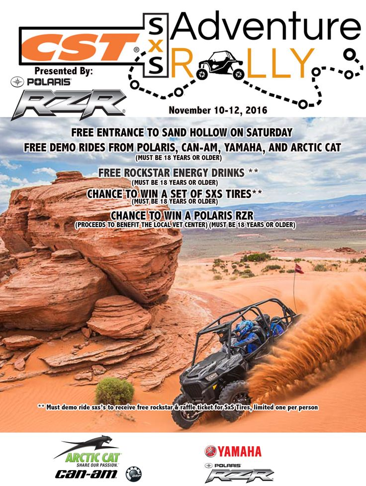 The 2016 SxS Adventure Rally is getting closer and we are adding more cool stuff! Not only will you be able to do demo rides from 4 top manufacturers but we will have a drawing for a set of tires for all demo riders, not to mention FREE Rockstar energy drinks (one per person, first 250 people). We will also have a special flag ceremony on Veterans Day and be sure to stick around for the RZRauction on Saturday afternoon!