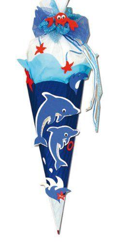 BASTELSET Schultüte Delfin - 85 cm - 6 - eckig - mit Holzspitze Zuckertüte: Amazon.de: Spielzeug