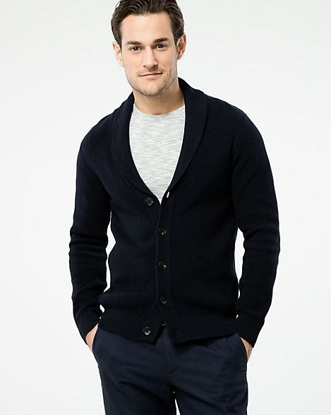 Cotton Shawl Collar Cardigan - A style-defining shawl collar fronts a handsome cardigan crafted from pure cotton.