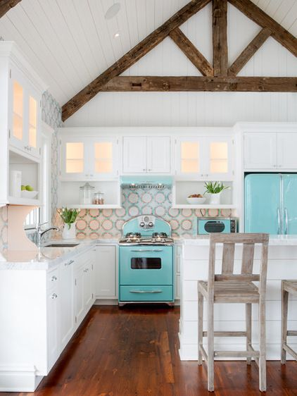 Beach Style Kitchen by Karr Bick Kitchen and Bath - Love the aqua against the white - It's a little retro - a little mixed up & eclectic.  the Barn style ceiling & lots of cabinets