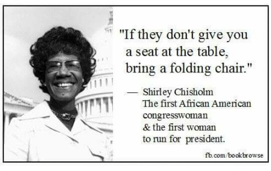 Shirley Chisholm first woman to run for president for the Democratic Party. Note: Victoria Woodhull in 1872 was nominated by Equal Rights party.