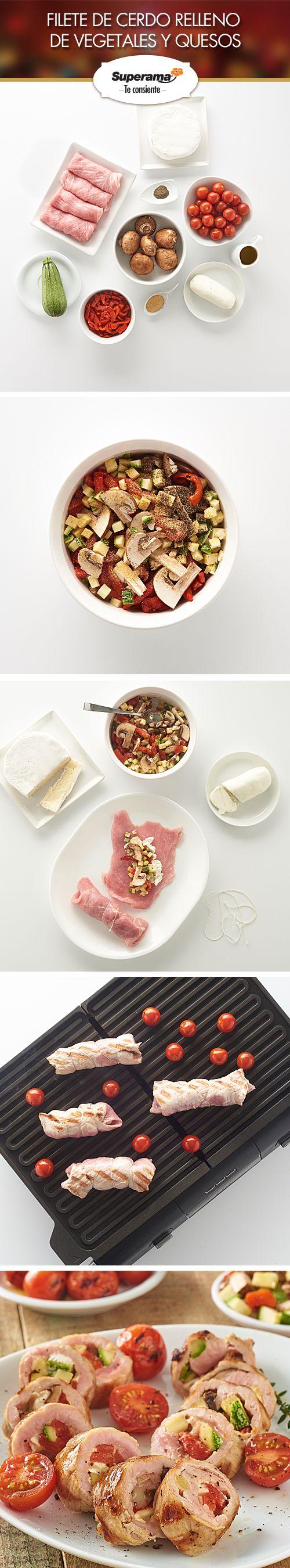#Filete de cerdo relleno: Mezcla 1 tz. de pimientos de lata picados, 1 tz. de calabaza picada, 1 tz. de champiñones picados, 1 cda. de sal con ajo y ½ cda. de pimienta. Distribuye las verduras en el centro de 4 filetes de cerdo aplanados y añade a cada uno 1 cda. de queso Camembert picado y 1 cda. de queso de cabra. Enrolla los filetes y amarra con hilo cáñamo. Cocina a la parilla con aceite de oliva y 1 tz. de jitomates cherry.