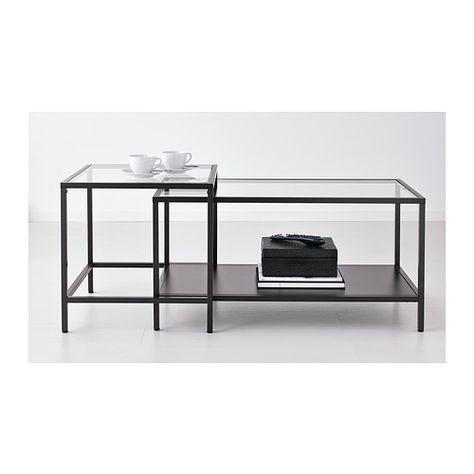VITTSJÖ Tables gigognes, lot de 2 IKEA Plateaux de table en verre trempé, résistants aux taches et faciles à nettoyer.