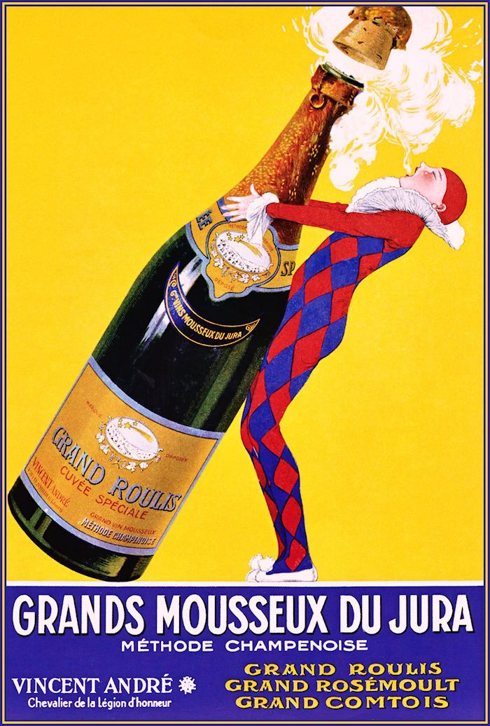 Champagne 1920 Grand Mousseux Vintage Poster Art Print Retro Style French Advertising Free US Post