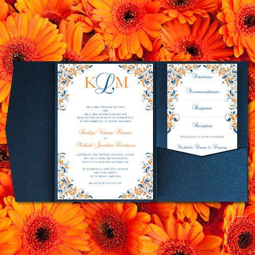 "Print Your Own Wedding Invitations: DIY Pocket Wedding Invitations ""Kaitlyn"" Blue & Orange"