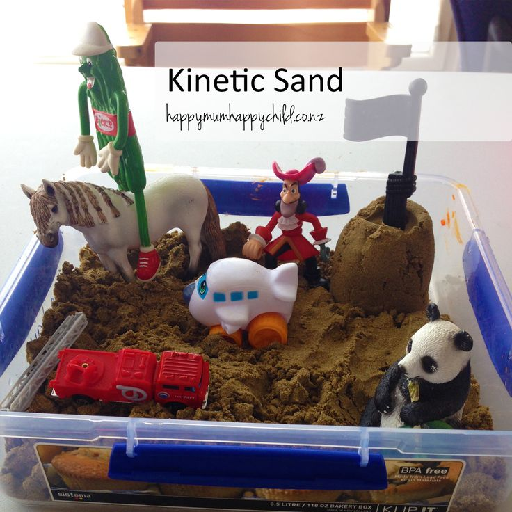 Want to make your own Kinetic Sand?  Look no further! Your main ingredient needs to be sand.  Dry sand.  If you get sand straight from the bag, it'll naturally be damp.  So to dry it out, put your ...
