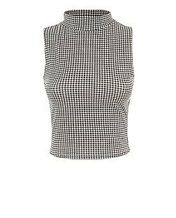 Teens Black Sleeveless Gingham High Neck Top | New Look
