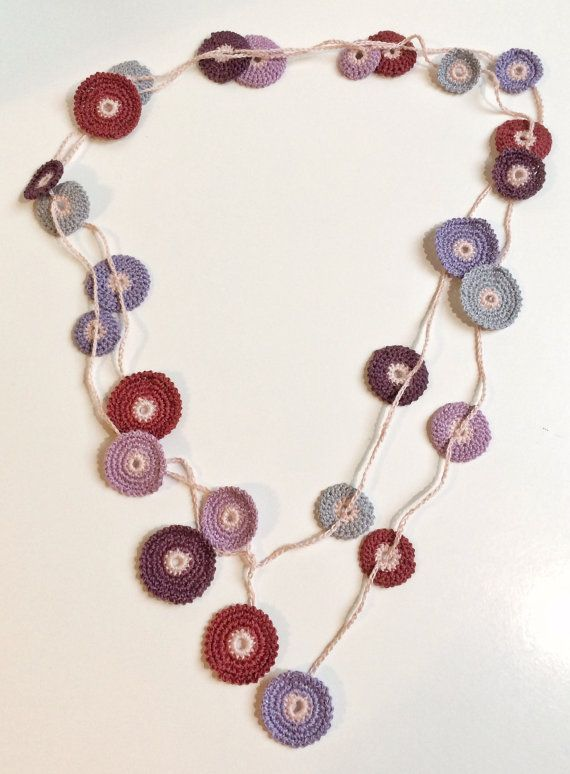 Plum shades Turkish style crochet necklace