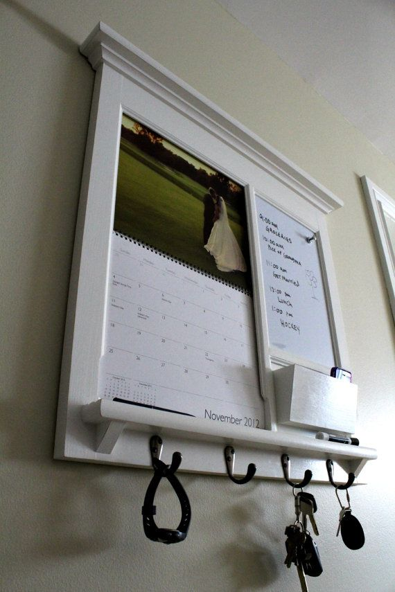 NEW - iPhoto Calendar Front Loading Frame with Mail Storage Pocket, Magnetic Dry Erase, Cork, or Chalkboard with Keyhooks - Mail Organizer
