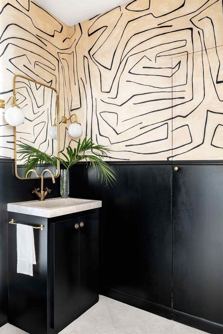 Kelly Wearstler graffito wallpaper bold black and cream