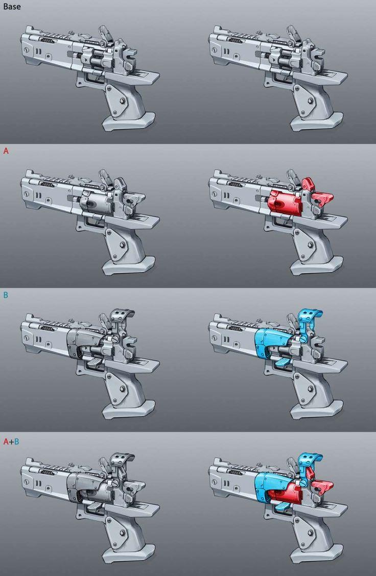 Torgue Pistol Variants #ConceptArt from #Borderlands2 by #KevinDuc