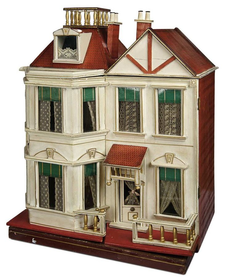 Large German Wooden Dollhouse with Widow's Walk Attributed to Christian Hacker 6000/8500. THIS IS A LINES BROTHERS DOLLS HOUSE!
