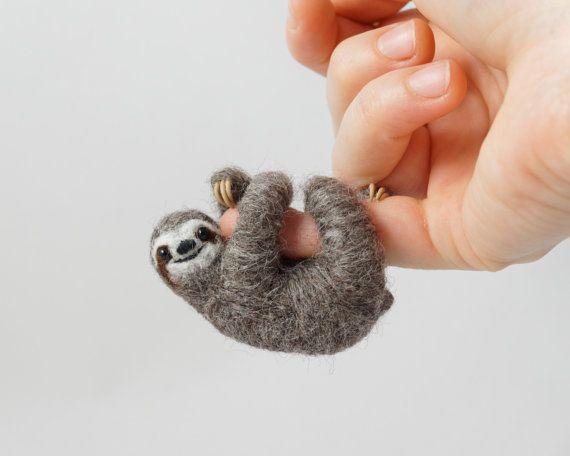 Sloth necklace Needle Felt Sloth sloth stuffed by LilenokArt