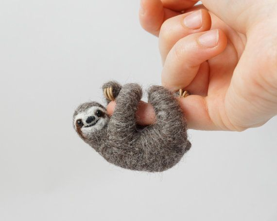 Sloth necklace Needle Felt Sloth sloth stuffed by LilenokArt