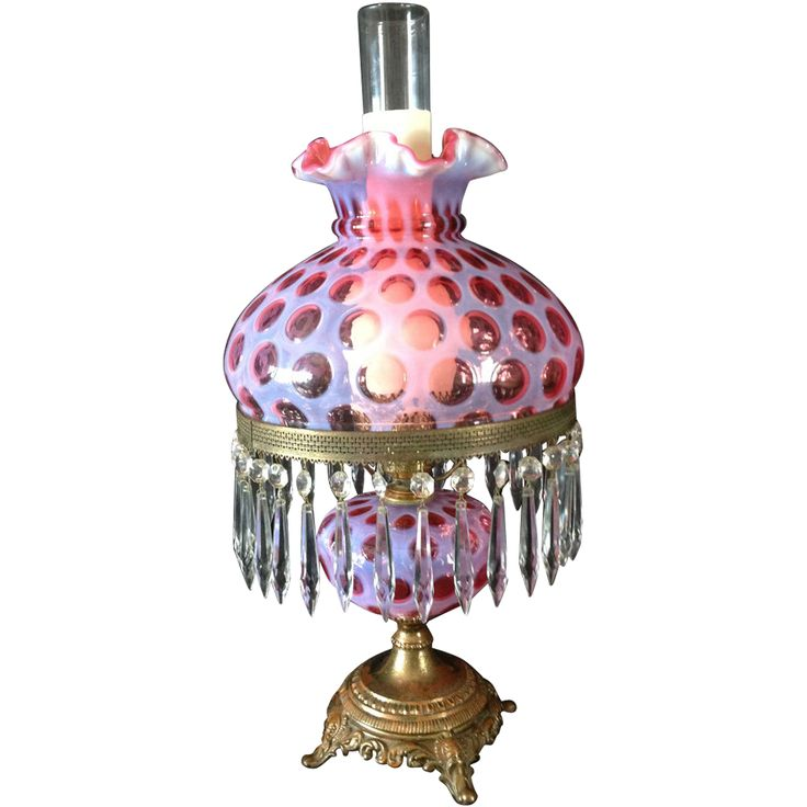 76 best student lamps 10 shades parts images on pinterest fenton glass lamp shades fenton glass lamp cranberry opalescent coin spot or coin dot student aloadofball Gallery
