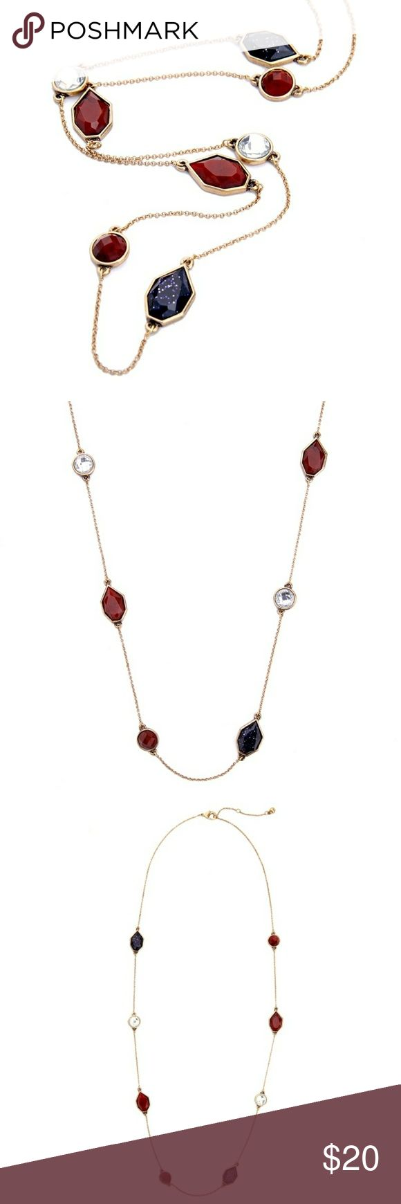 """Garnet Red Blue Rhinestone Chain Station Necklace Collection Name: """"Sparkler""""is also known as """"Shades of the Unknown"""" is part of the Gold Collection Metal: Yellow Gold Plated Bronze Brass Copper Plated Base Metal: Antique Gold Plated Stone Shape: Geometric Chevron Irregular Round cut Stone: Rhinestone Multi-Stone Diamante Diamonique Crystal (Resin) Design: Vintage Nouveau Art Deco Era Theme: Patriot American Flag Color: blood red garnet & navy blue clear Necklace length: 34 inches…"""