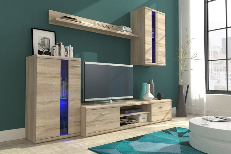 """Wohnwand LIFE, Anbauwand, Wohnzimmer M""""bel, mit LED Beleuchtung in 2020   Living room sets ..."""