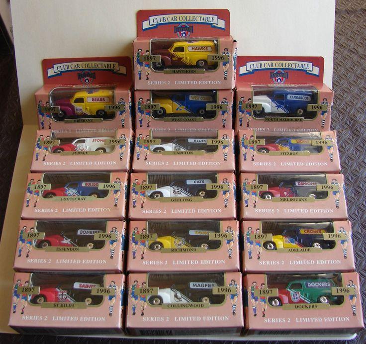 1996 Matchbox AFL Complete Set 16 - FJ Holden Vans Never Opened Boxes Have Wear