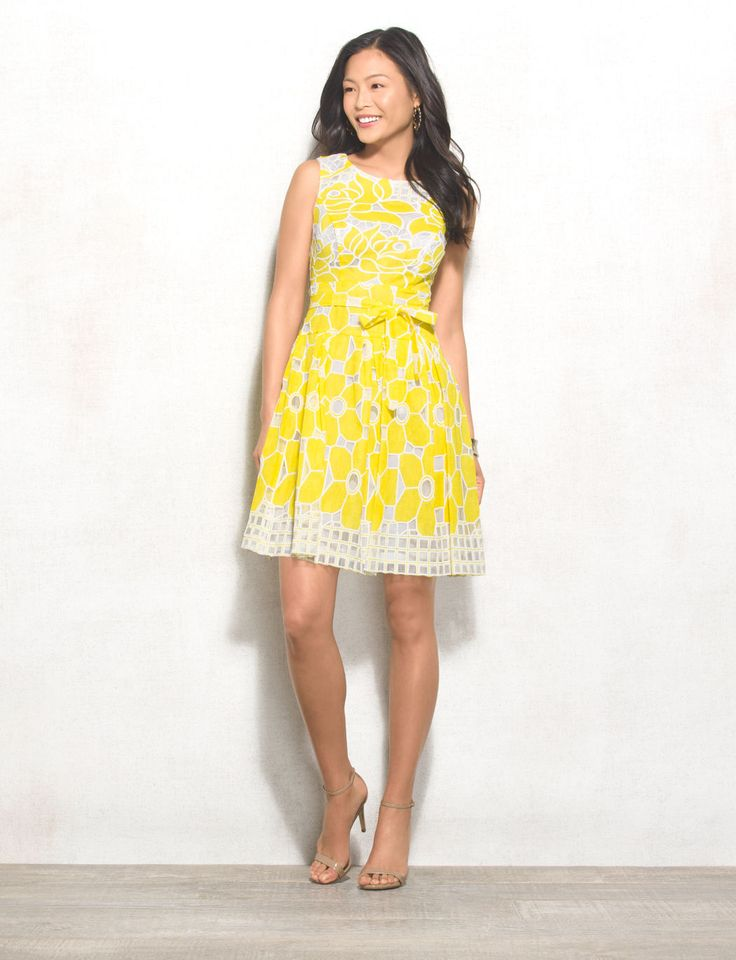 In the case of this chic little yellow dress, it's true that the color yellow really does make you happy. Add a neutral shoe and a pink lip and we're smiling from ear to ear. Allover yellow and white flower burnout pattern. Imported.