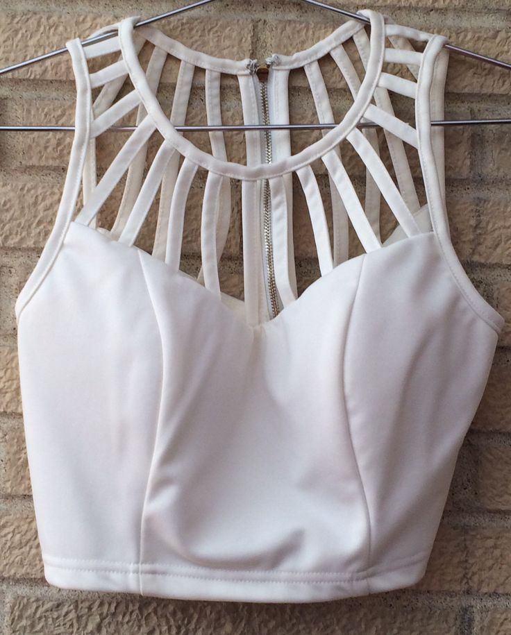 Sister T Collection: Off-white Sea-Shell Strappy Gold back-zippered Crop-Top Tank, Size Small
