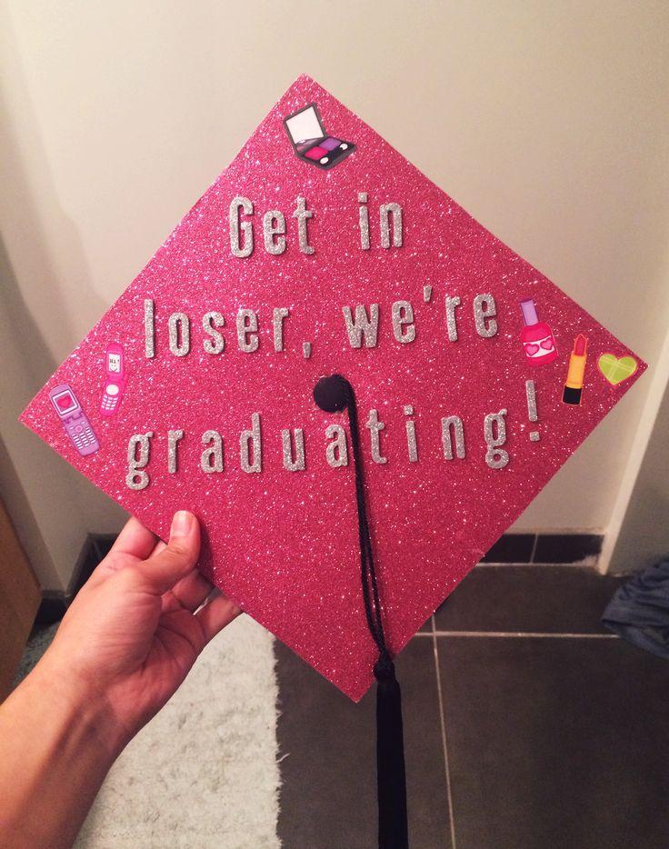 graduation cap, mean girls, pink, college, vcu, diy, sparkle