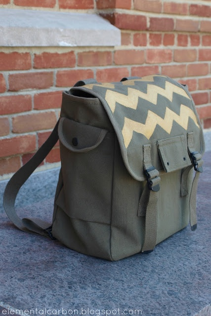 Elemental Carbon: Gold Chevron Army Backpack // DIY