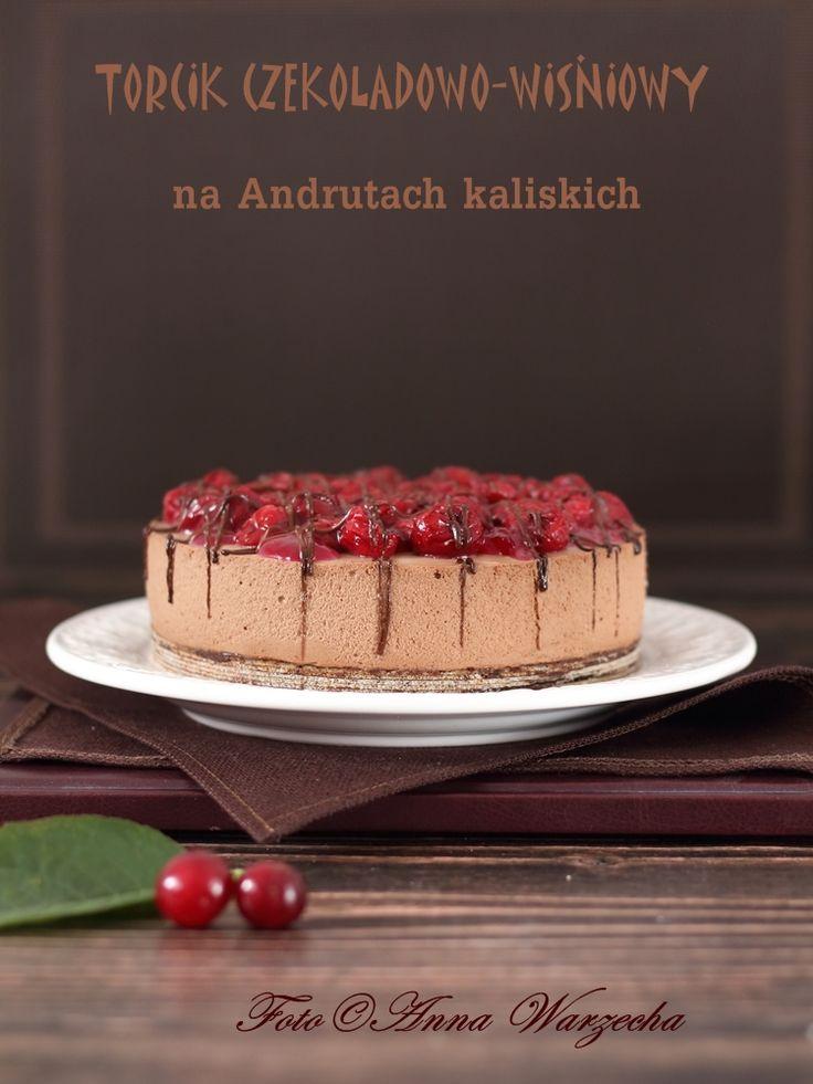 Torcik czekoladowy z Wiśnią nadwiślanką na spodzie z Andrutów kaliskich @cafeamaretto