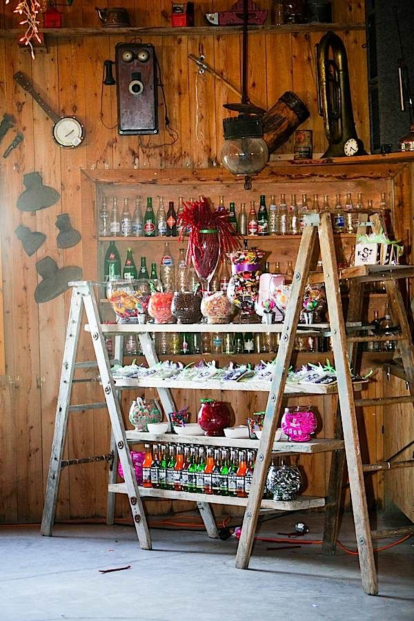 Easy DIY sweet/snack buffet set-up With two ladders and wooden planks