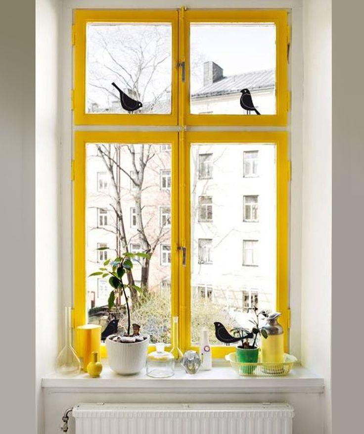 P jaros en la ventana vinilo adhesivo para vidrio for Adhesivos neveras decoracion