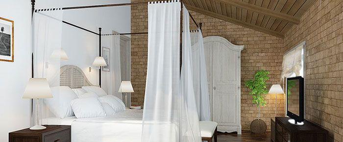 дизайн спальни, спальня, готика, интересная спальня, интерьер спальни, кирпичная стена