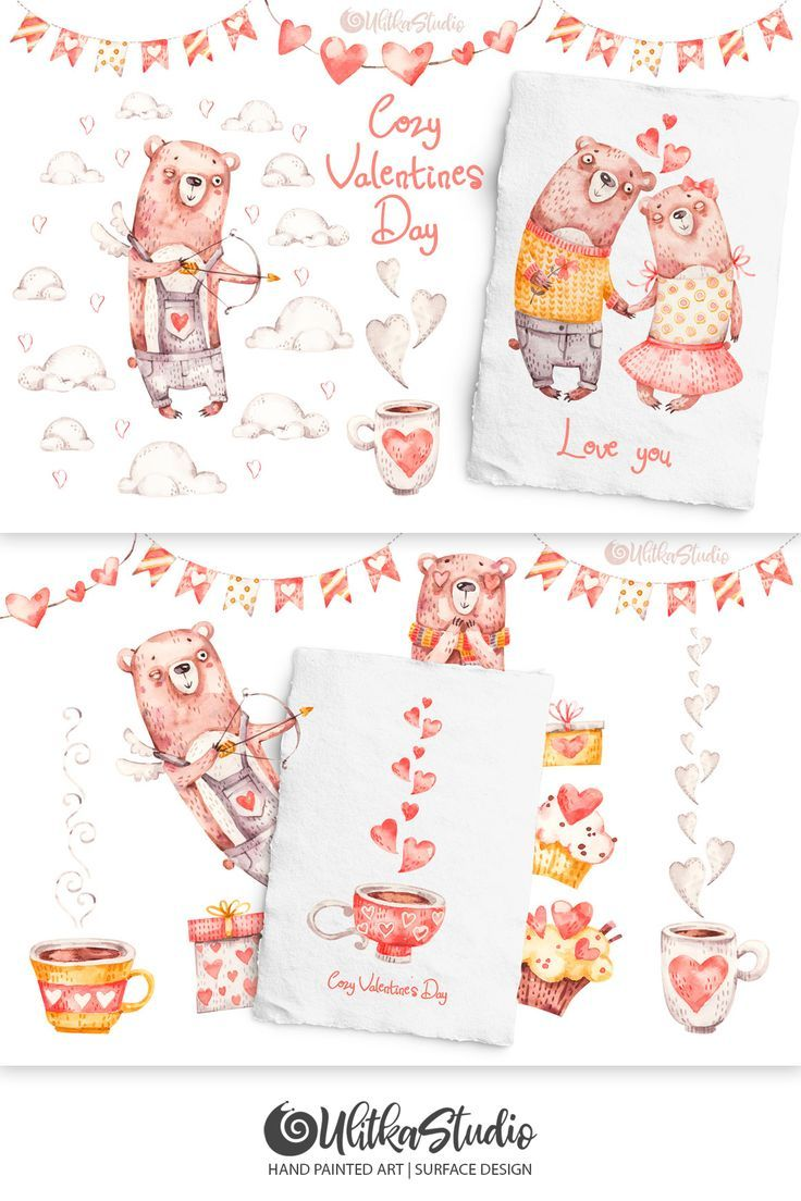Cozy Valentines Day Lovely Bears Baby Clip Art Hand Painting Art Clip Art