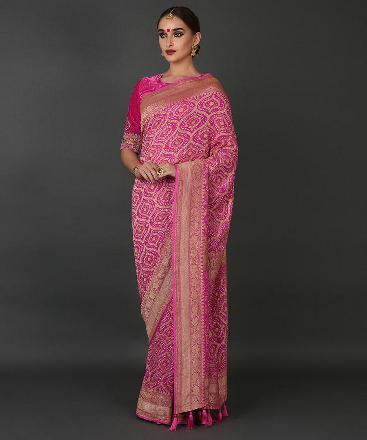 Hot Pink Banarasi Zari Bandhej Pure Georgette Saree Product Code: TT-12277SABNKAV $1,285.20