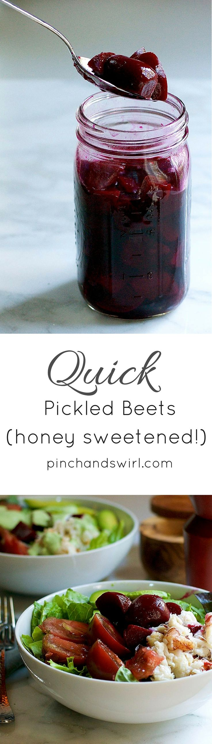 Easy Pickled Beets - just beets, apple cider vinegar, water, honey, salt and pepper! Such a delicious way to top all of your salads this summer! via @pinchandswirl #easyrecipe #beets