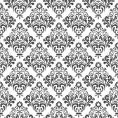 Wallpaper: preto e branco padrão papel de parede floral do damasco