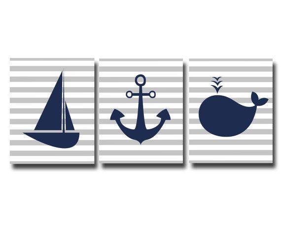 Nautical Nursery Art Print, Baby Boy Nautical Wall Art, Boys Bedroom Decor, Whale, Sailboat, Anchor - B168,169 &170-Custom Colour - Unframed...