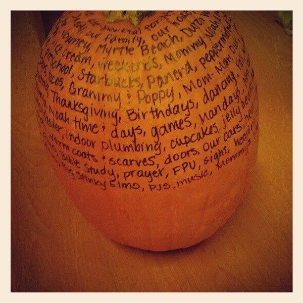 Every night in November add some things to a thankful pumpkin.