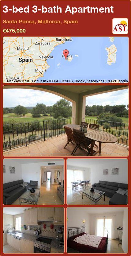 3-bed 3-bath Apartment in Santa Ponsa, Mallorca, Spain ►€475,000 #PropertyForSaleInSpain