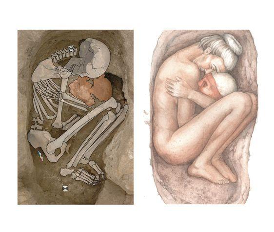 Image from http://killackeyillustration.com/images/Catalhoyuk_plaster_skull_burial_Kathryn_Killackey.jpg.